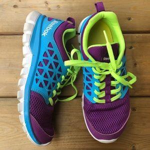 Reebok Girls Runners Running Shoes Sneakers Blue Green Purple Mesh